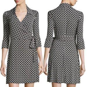 Laundry Black & White Honeycomb Stretch Wrap Dress